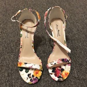 White Floral Heels